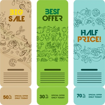organic food banners design with hand drawn style