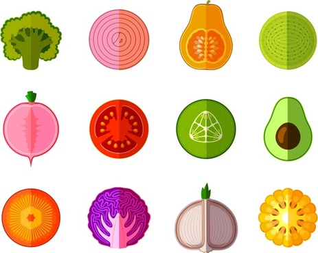 organic food icons illustration with surface cut style