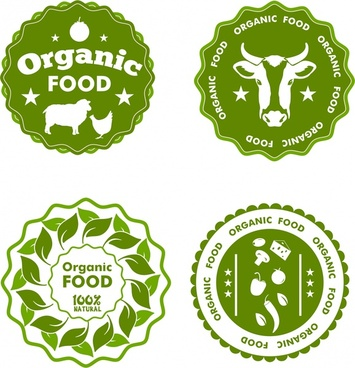organic food label sets circle design in green