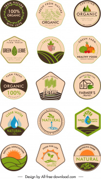 organic food label templates retro flat geometric shapes