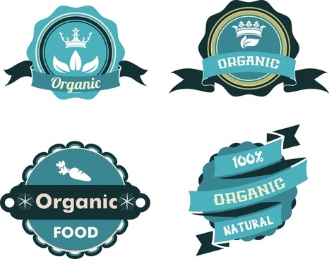 organic food labels collection various shapes in blue