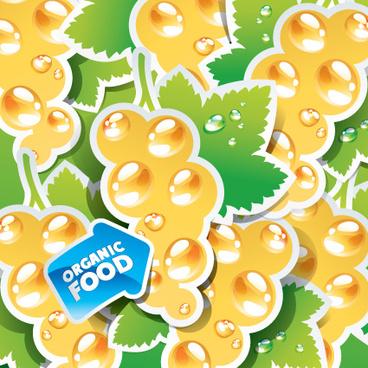 organic food labels stickers design vector