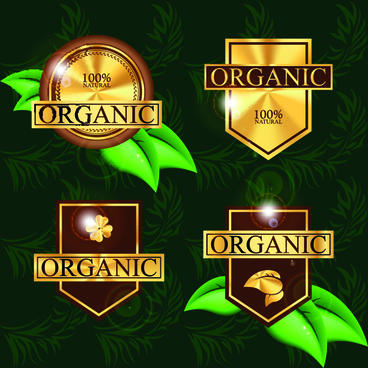 organic food labels with green leaf vector