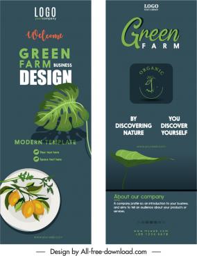organic food leaflet templates elegant dark classic design