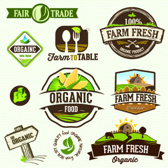 organic food logos and labels vector