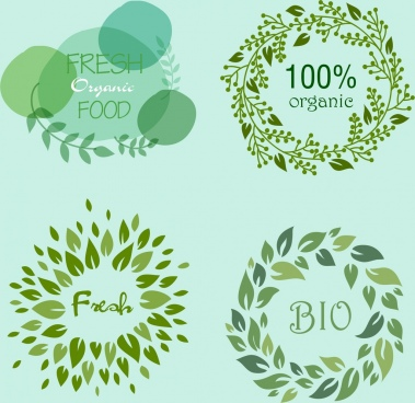 organic food logotypes green leaves circle decor