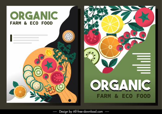 organic food posters colorful flat decor classic design
