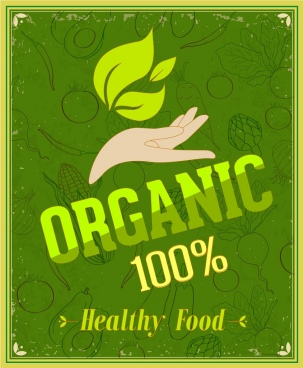 organic food promotion banner retro green decoration