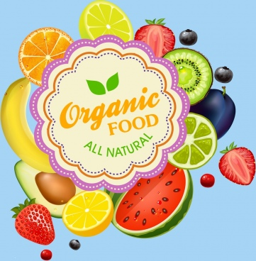 organic food promotion banner various bright colored symbols