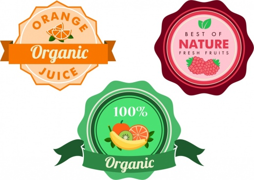 organic fruit juice badges colorful circle decoration