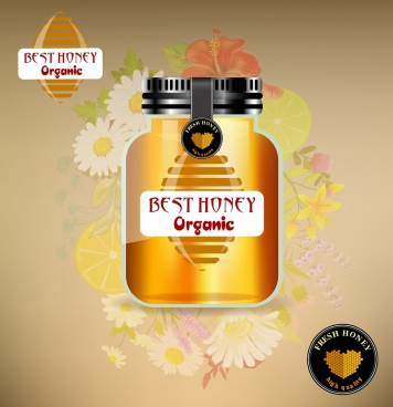 organic honey advertisement shiny yellow jar flowers icons