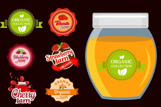 organic jam advertisement various fruit seals icons