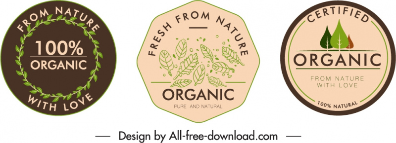 organic labels templates flat handdrawn leaves circle shapes