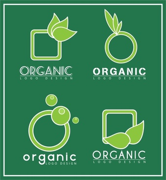organic logo sets various shapes in green