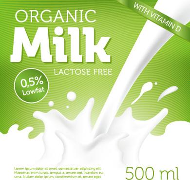 organic milk advertising poster vector