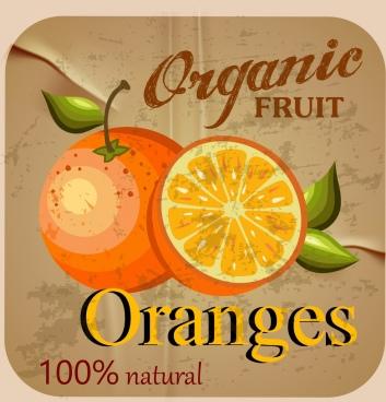 organic orange advertisement colored retro design