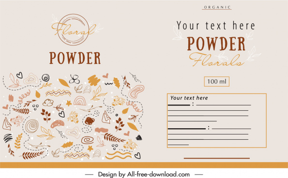 organic package label template retro handdrawn nature elements