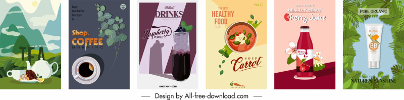 organic product advertising banners colorful elegant classical design