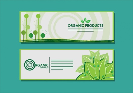 organic product banner design circle and plants background