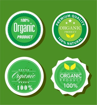 organic product label sets circle style design