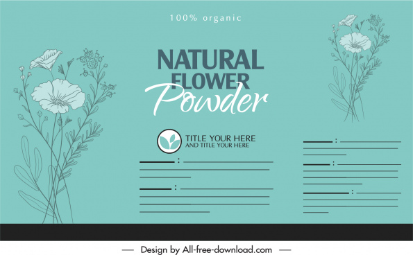 organic product label template classical floral sketch