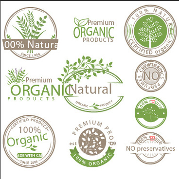 organic product labels vector set