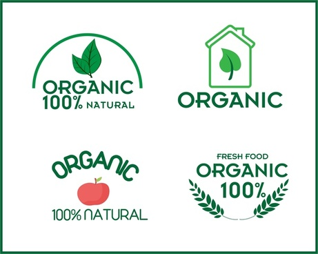organic product logo sets collection various symbols design