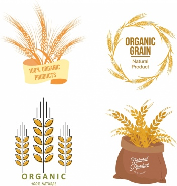 organic product logotypes barley icons various shapes isolation