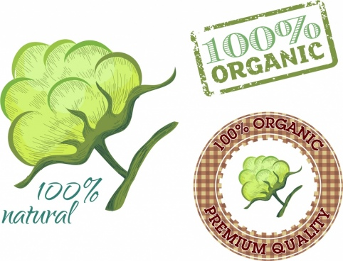 organic product stamps collection various colored flat shapes