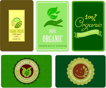 organic product tags various symbol elements design