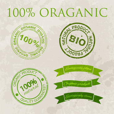 organic products warranty vector design with green illustration