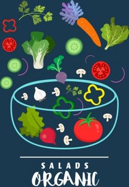 organic salad advertisement fresh vegetable bowl icons