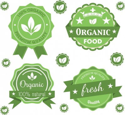 organic seals sets green ornament leaf star icons