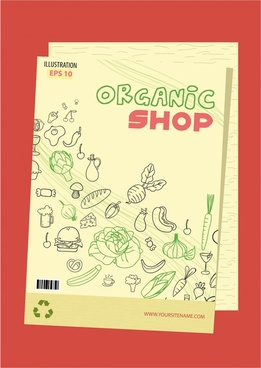 organic shop flyer design with products drawing