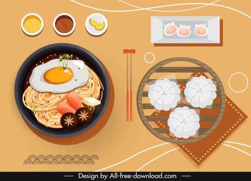 oriental cuisine background flat classical sketch