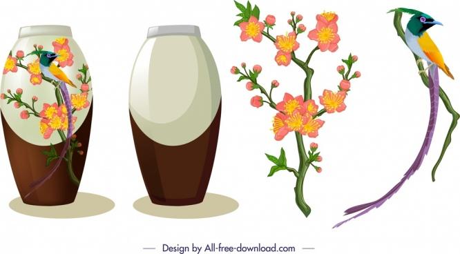 oriental design elements vase flower peafowl icons