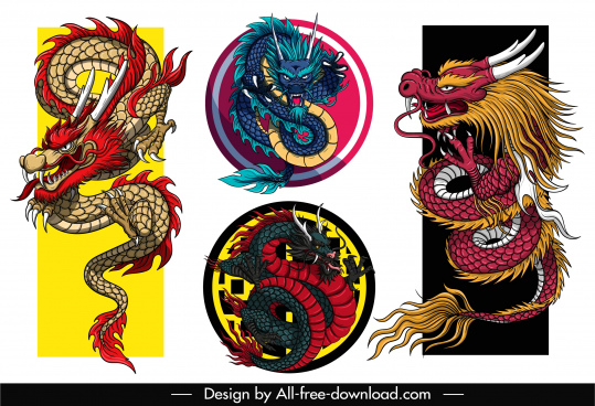oriental dragon icons colorful classical design
