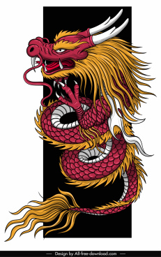 oriental dragon template colored classical impressive design