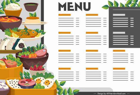 oriental menu template colorful bright decor cuisines sketch