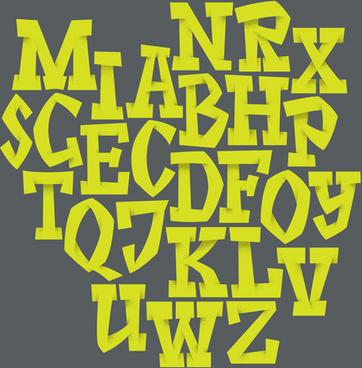 origami alphabet yellow vector