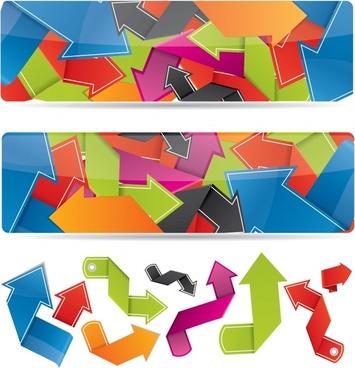 origami arrow banner vector