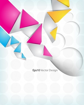 decorative background template bright colorful origami shapes sketch
