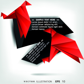 origami bird and text boxes vector