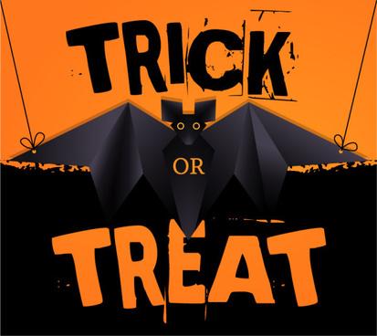 origami black bat vector halloween background