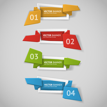 origami business banners with numbered vector