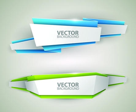 origami colored banner graphics vector