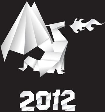 origami dragon 03 vector