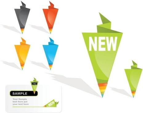 origami label sales 01 vector