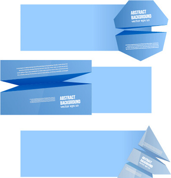 origami light blue banners vector