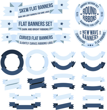 origami ribbon banners vector design
